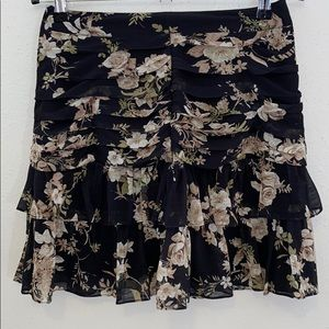 Gazelle mini skirt black floral pleated Small